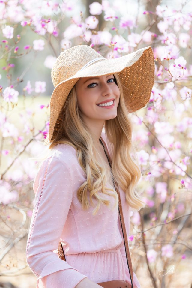 pink outfit hat with cherry blossoms