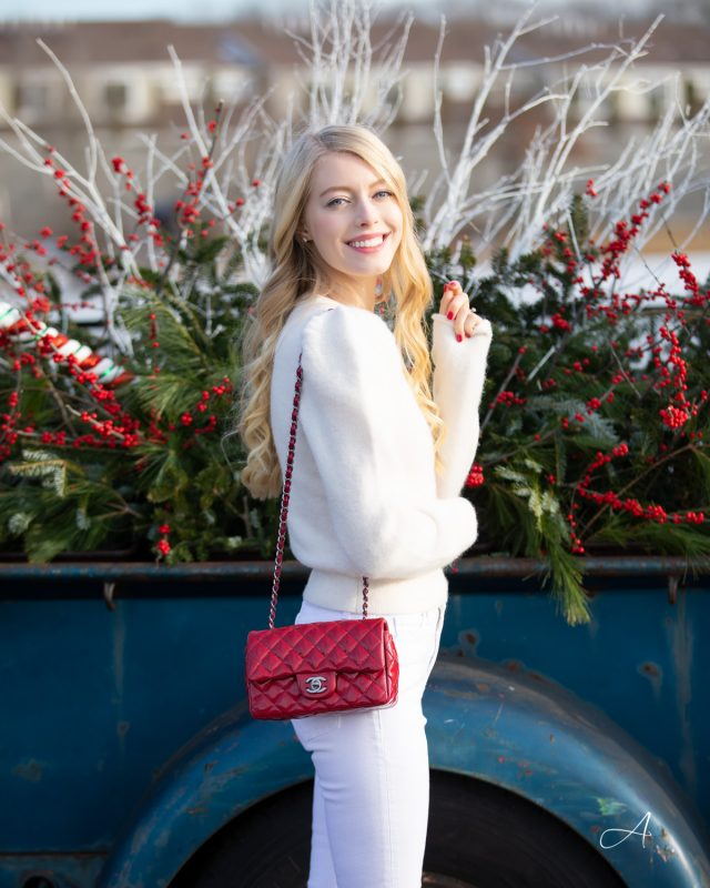 winter white look with pop of red
