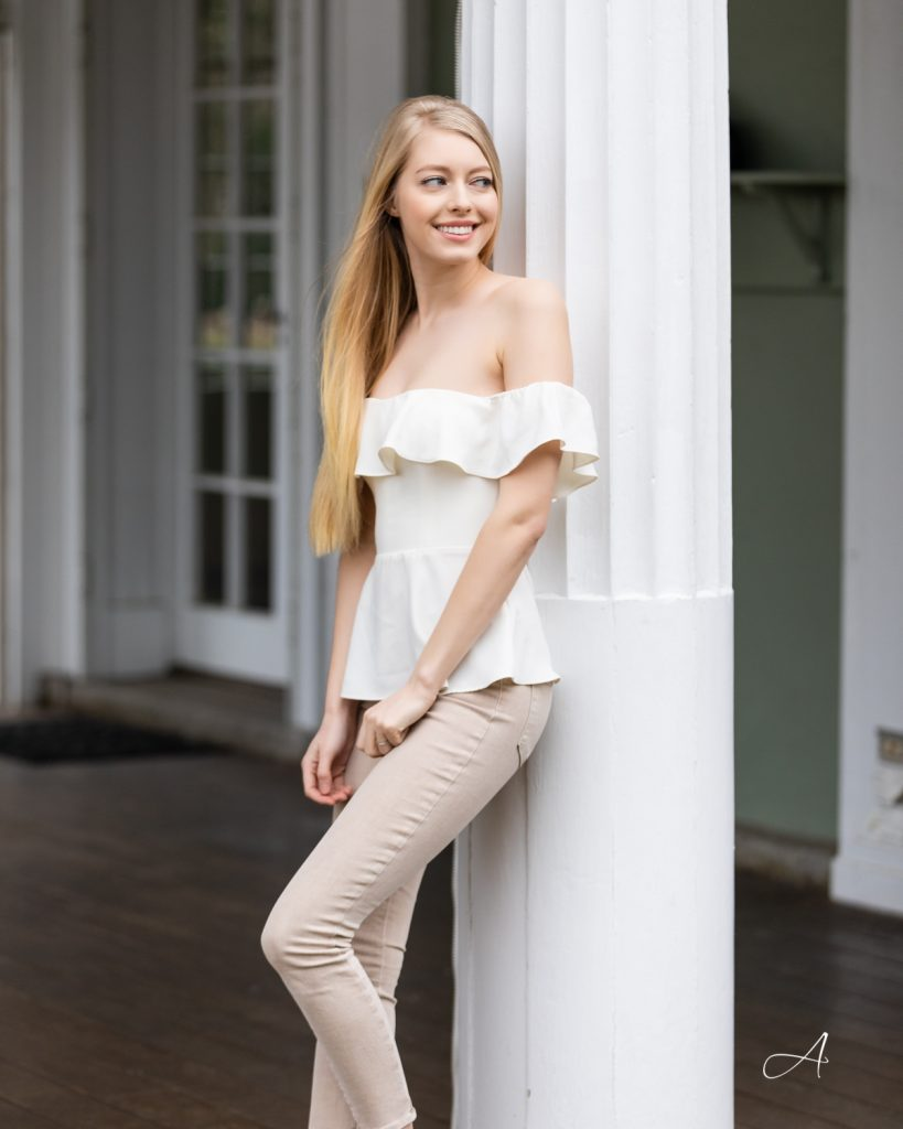 white ruffle peplum top blouse with all beige look