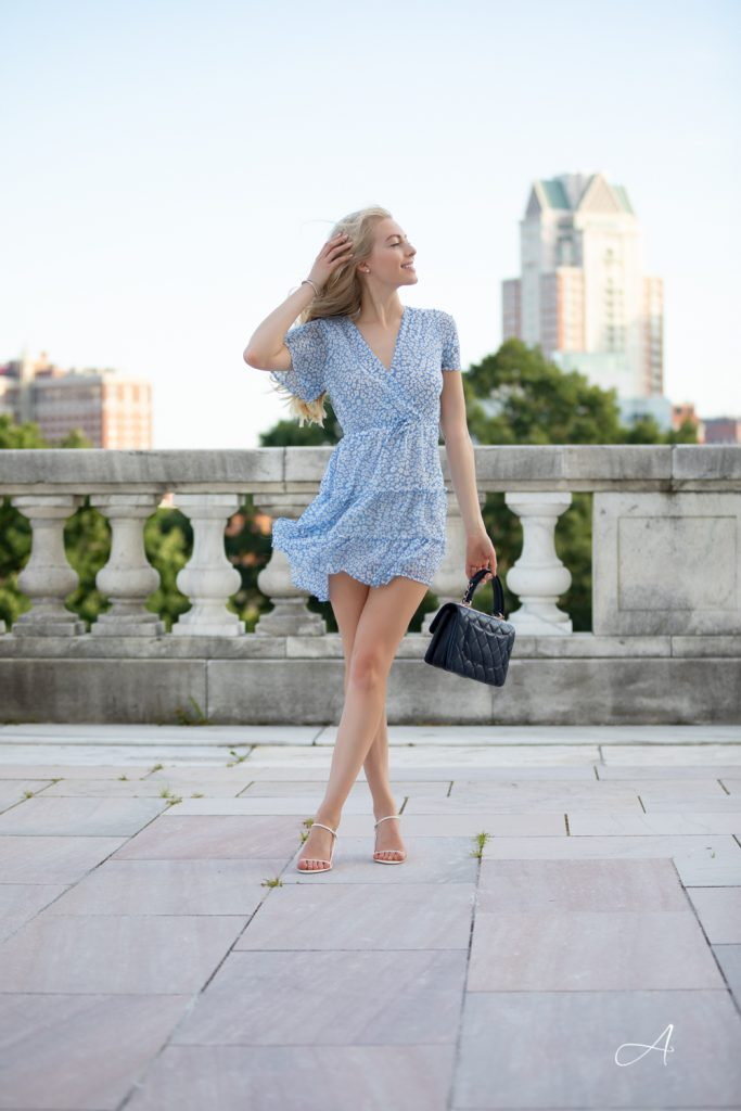 blue floral dress from chicwish