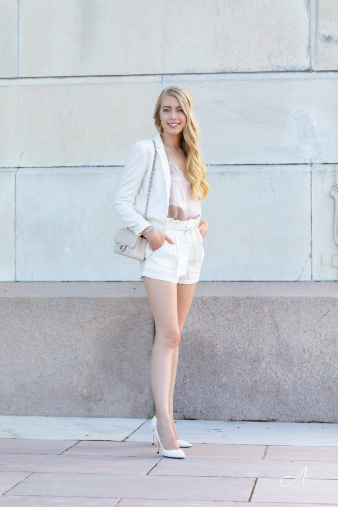 all white neutral look with blazer