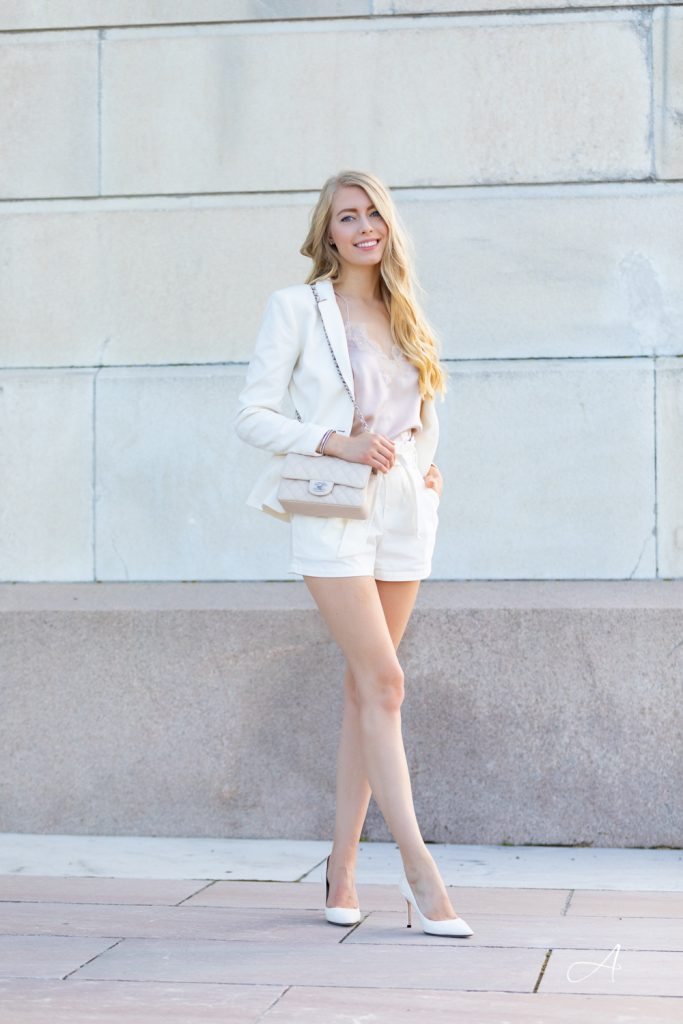 white blazer with paperbag style tie shorts