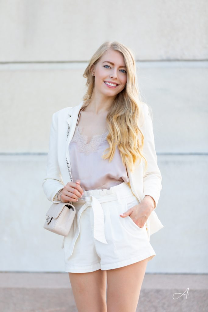 white blazer with shorts look