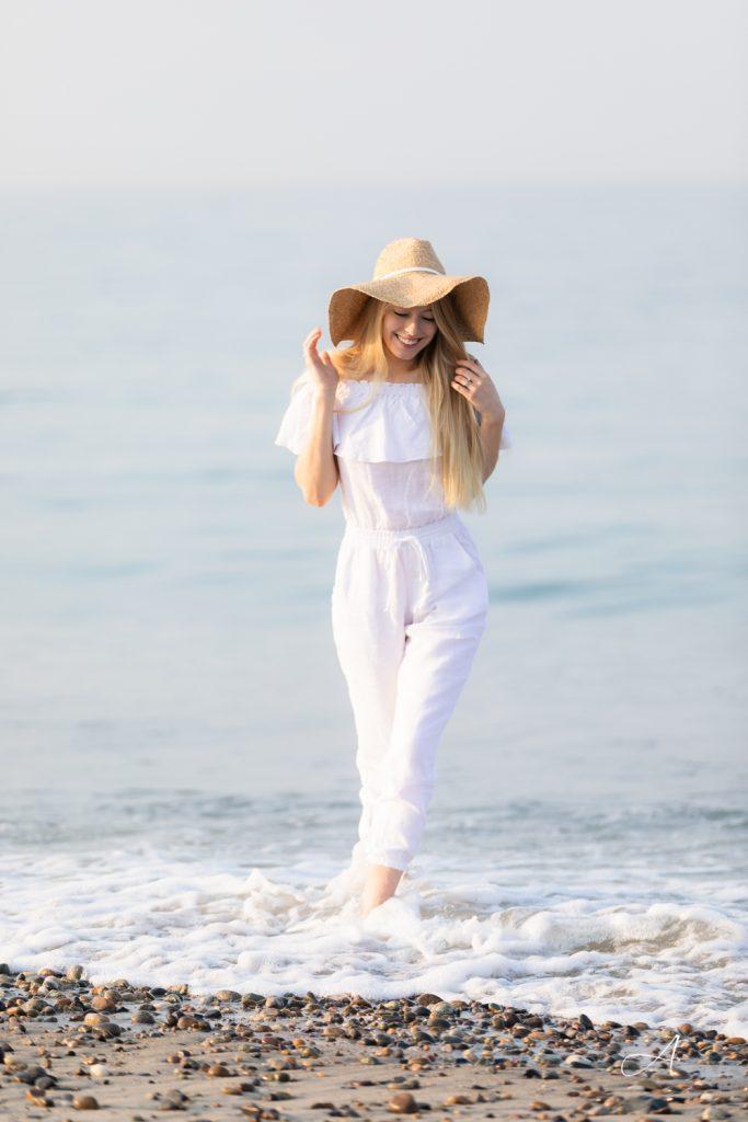 white linen off the shoulder ruffle jumpsuit