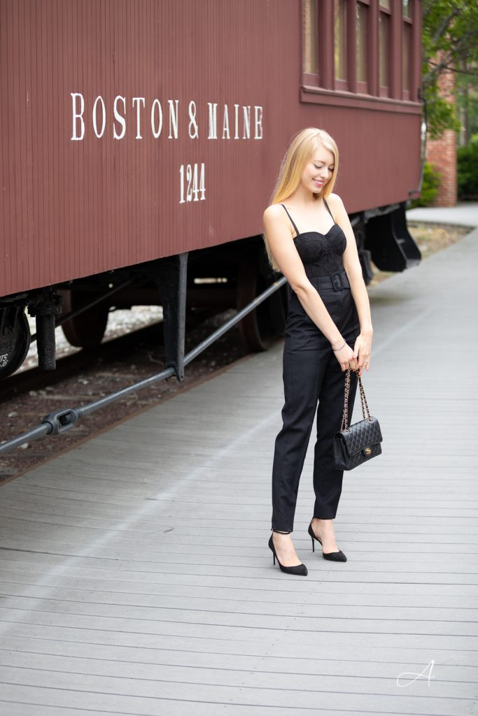 all black look with bodysuit and trousers