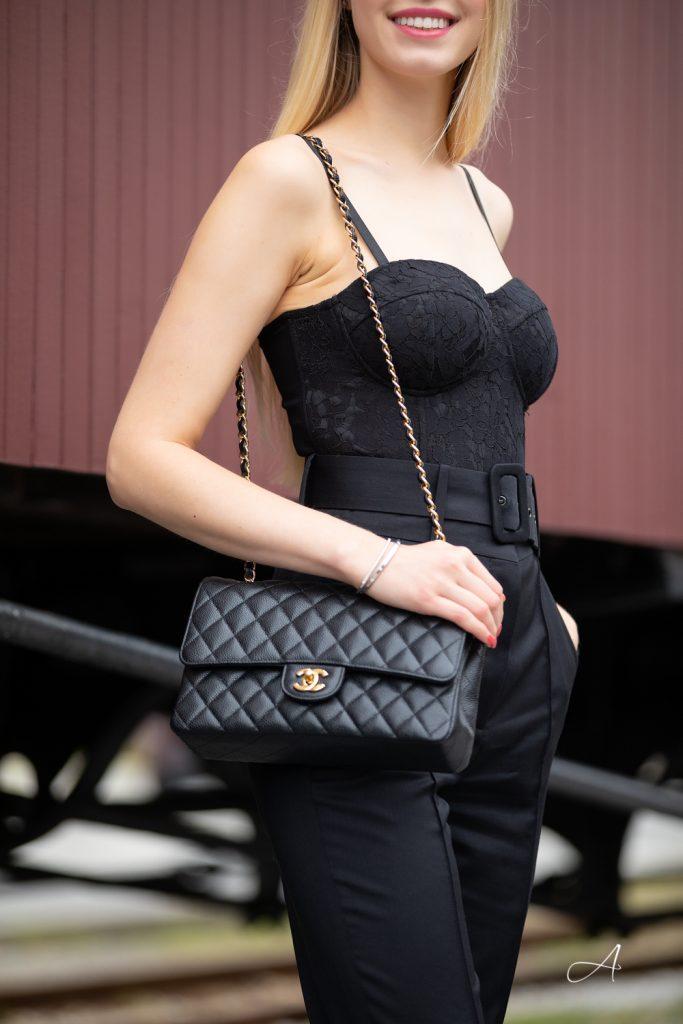 black lace bodysuit chanel medium
