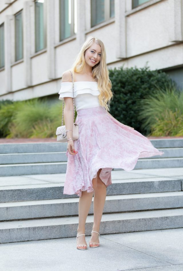 birthday dress floral flowy pink midi skirt