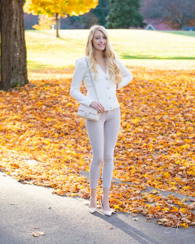 crystal button cardigan puff shoulder all beige fall outfit
