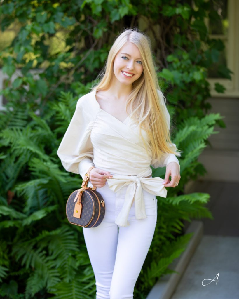 all white look with wrap top and louis vuitton lv Petite Boite Chapeau