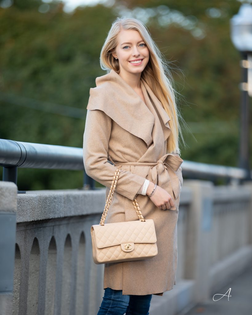 fall beige tan trench with coat, wool blend