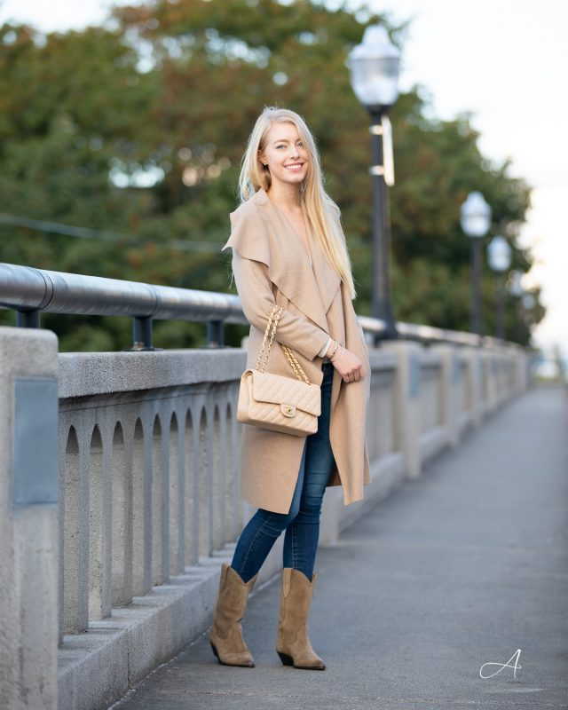 fall trench tan beige with western Isabel Marant Duerto Boots