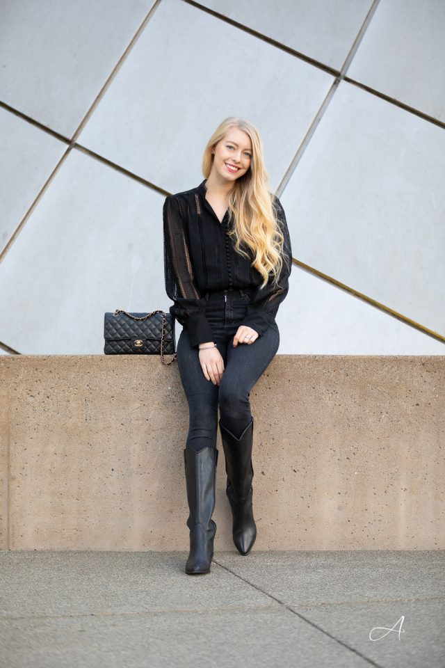 Black Lace Top with Isabel Marant Denvee Boots
