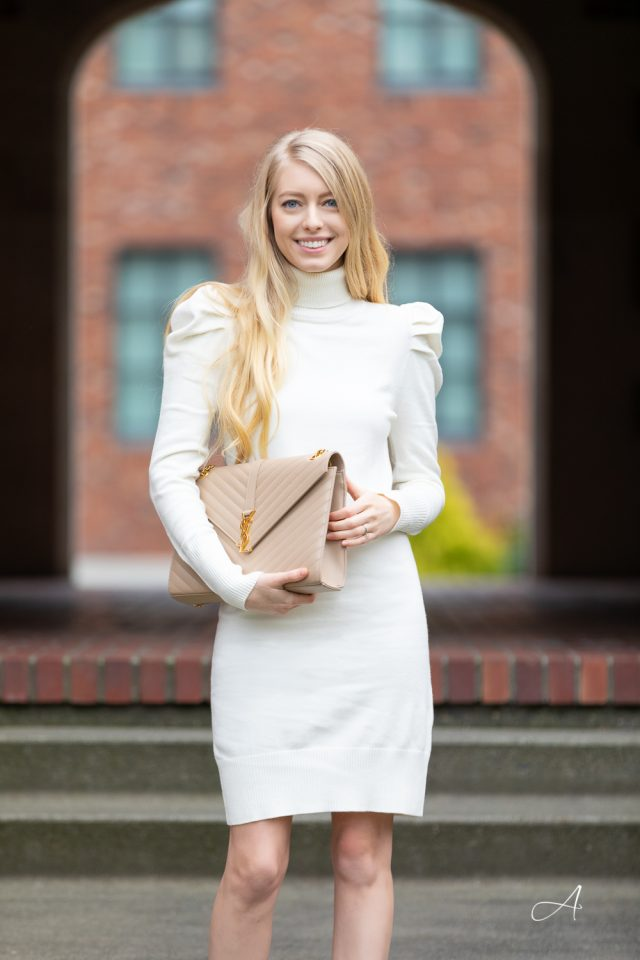 White Sweater Dress with Long sleeves and turtleneck and boots