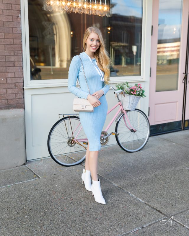 blue hoodie dress with white booties